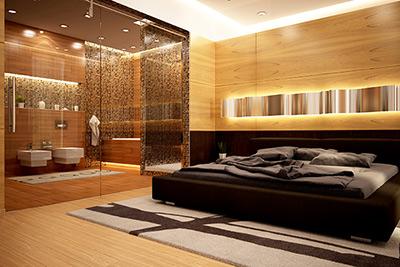 Glastrennwand als Raumteiler zwischen Schlafzimmer und Badezimmer