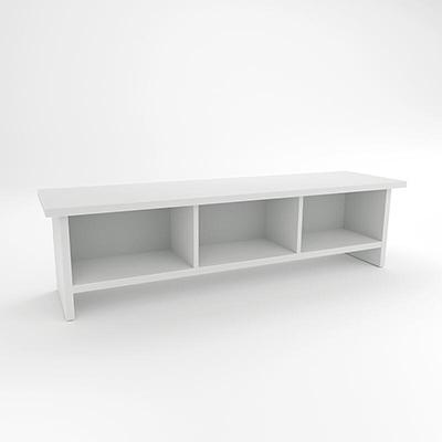 Weiße Sitzbank mit Stauraum