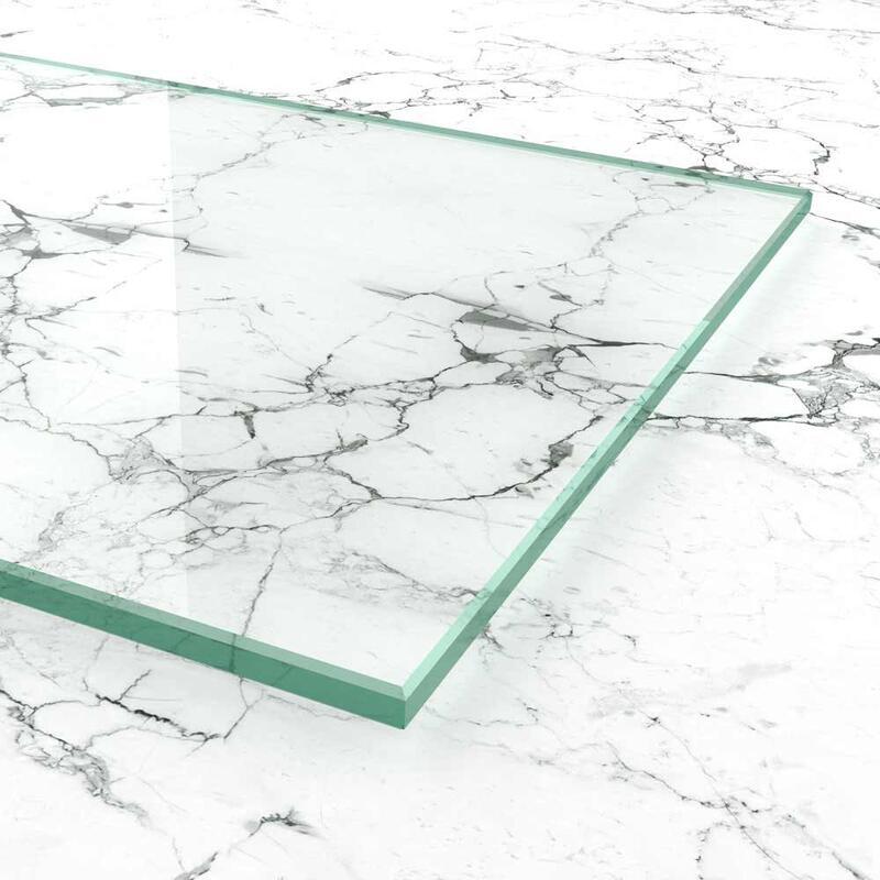 biege- und sto/ßbelastbar. klar durchsichtig Ecken gesto/ßen Nach Ma/ß bis 80 x 130 cm Kanten geschliffen und poliert 800 x 1300 mm ESG nach DIN Glasplatten ESG 4mm